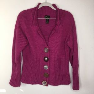 PURE Handknit Collared Button Sweater Pink SZ XS/S